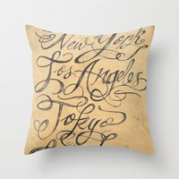 cities Throw Pillows featuring freehand cities by Vin Zzep