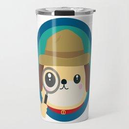 Dog detective with magnifying glass Travel Mug