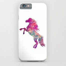 Horse Art Colorful Purple Watercolor Decor Animal Lovers Gift iPhone Case