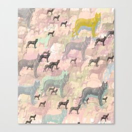 Sky Dogs - Abstract Geometric pink mauve mint grey orange Canvas Print