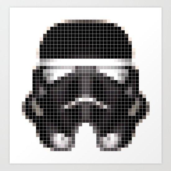 Stormtrooper Helmet Pixel Inverted Art Print