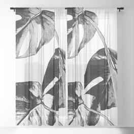 Black monstera leaves watercolor Sheer Curtain
