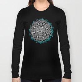 Turquoise & White Mandalas on Grey Long Sleeve T-shirt