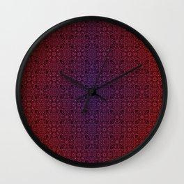 dark mandala repeating pattern - gradient, sunrise  Wall Clock