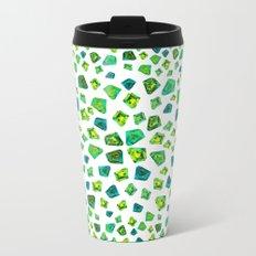 Green beautiful hand drawn gems. Metal Travel Mug