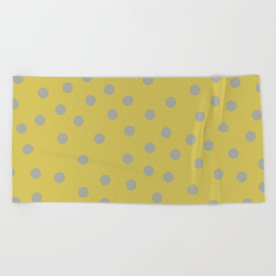Simply Dots Retro Gray on Mod Yellow Beach Towel