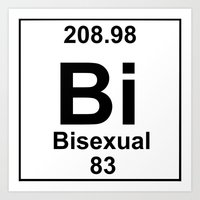 periodic table Art Prints featuring Periodic Table: Bi(sexual) by BrightestWitch