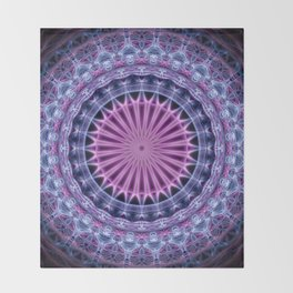 Pretty mandala in blue and violet tones Throw Blanket