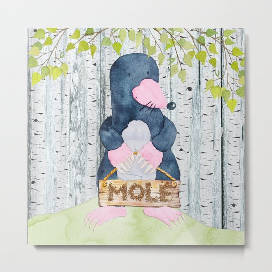 The busy Mole - Woodland Friends- Watercolor Illustration Metal Print