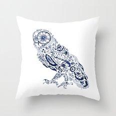 Folk Floral Indigo Owl Throw Pillow