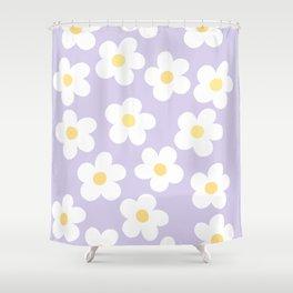 Lavender 70's Retro Flower Power Shower Curtain