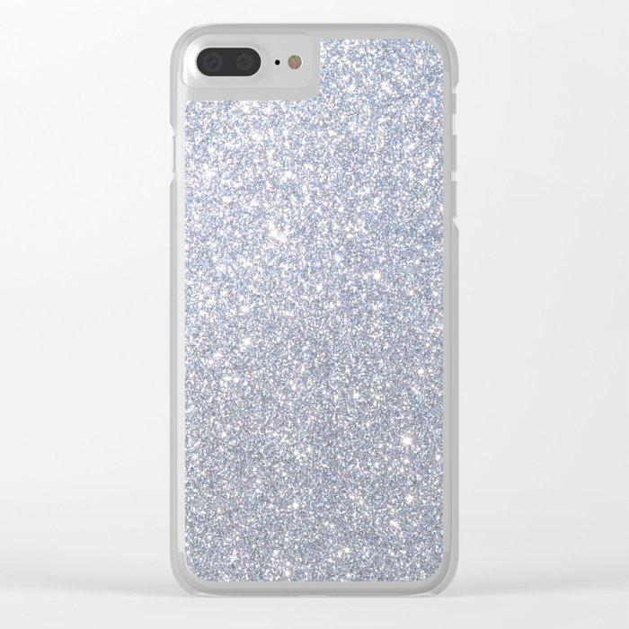 size 40 040f9 813a9 Silver Metallic Sparkly Glitter Clear iPhone Case
