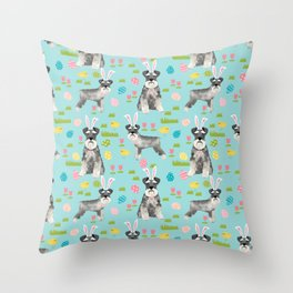 Schnauzer easter costume spring easter bunny pure breed dog pattern gifts Throw Pillow