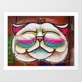 Smiling Cat & Bird Art Print
