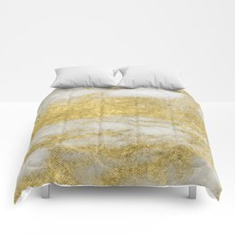 Marble - Glittery Gold Marble and White Pattern Comforters
