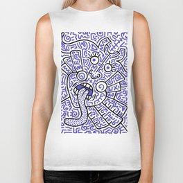 """""""The Face"""" - inspired by Keith Haring v. blue Biker Tank"""