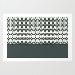 Pantone Cannoli Cream Square Petal Pattern on PPG Night Watch Pewter Green Art Print