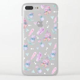 Rainbow Skull Succulent Crystal Garden Pattern Clear iPhone Case