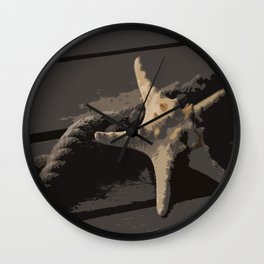 Starfish and boat rope on the pier - dark background - #Society6 - #buyart Wall Clock