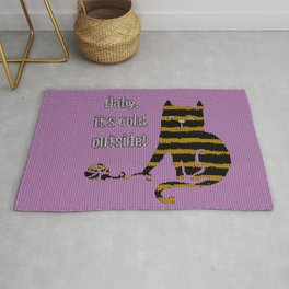 Baby its cold out there funny knitted striped Winter Cat Rug
