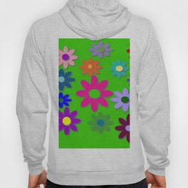 Flower Power - Green Background, Bright Colors, Fun Flower Power Desig Hoody