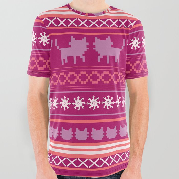 Christmas Cat Sweater.Ugly Christmas Cat Sweater All Over Graphic Tee By Raylie