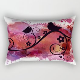 Black birds silhouette on a branch Rectangular Pillow