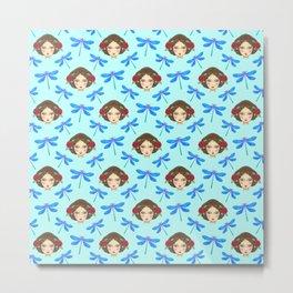 Pretty dragonflies, beautiful young girls. Feminine folk artistic gorgeous lovely baby blue pattern. Metal Print