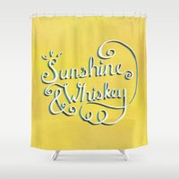 whiskey Shower Curtains featuring Sunshine & Whiskey by Yellow 13