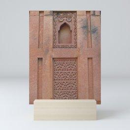 red fort decorative sandstone wall Mini Art Print
