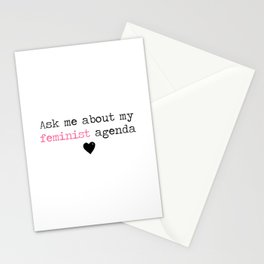 Ask me about my feminist agenda minimalist Stationery Cards
