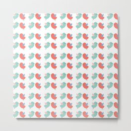 Cute coral green modern bird illustration Metal Print