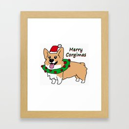 Merry Corgimas Framed Art Print