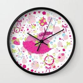 Circle floral party design Wall Clock