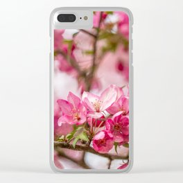 Bright Pink Crabapple Blossoms Clear iPhone Case