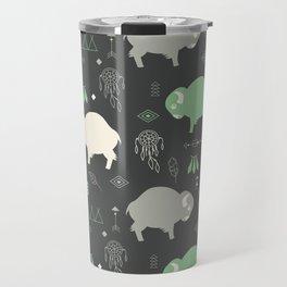 Seamless pattern with cute baby buffaloes and native American symbols, dark gray Travel Mug