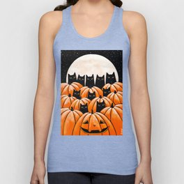 Black Cats in the Pumpkin Patch Unisex Tank Top