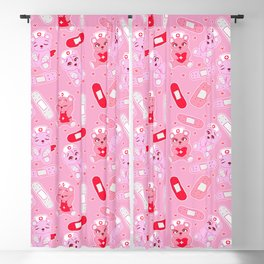 Menhera Nurses on Pink Featuring bears and bandages Blackout Curtain