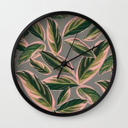 Calathea Leaves Pattern- Pink Green Gray Wall Clock