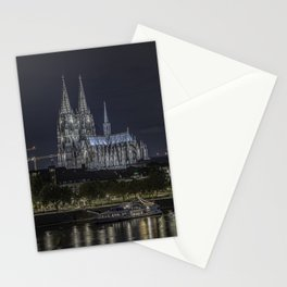 Night View & City Lights Cologne Cathedral in Cologne, North Rhine Westphalia, Germany Stationery Cards
