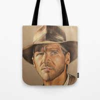 indiana jones Tote Bags featuring Indiana Jones by Ashley Anderson