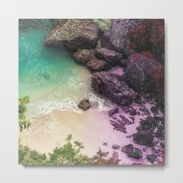 Whimsical Beach Water & Rocks Metal Print