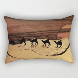 Desert or Sahara of wood marquetry art landscape picture Rectangular Pillow