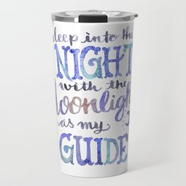Watercolor Moonlight Lettering Travel Mug