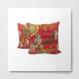 Handmade Fruit Print Kantha Pillow Cover Metal Print