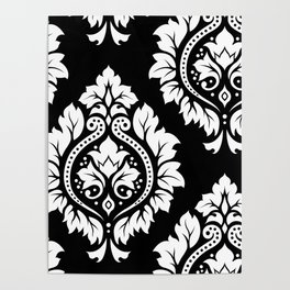 Decorative Damask Art I White on Black Poster