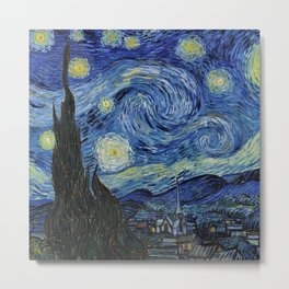 Classical Masterpiece 'Starry Night' by Vincent van Gogh Metal Print