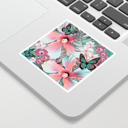 Peachy Mint Hibiscus Tropical Sticker