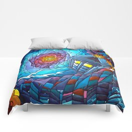 Tardis stained glass style Comforters