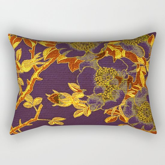 rich floral on purple Rectangular Pillow